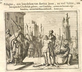 Mozarabs - Pelagius is depicted in the 1660 Martyrs Mirror.