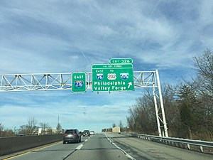 Interstate 76 (Ohio–New Jersey) - Eastbound at the Valley Forge interchange, where I-76 splits onto the Schuylkill Expressway and the road becomes I-276