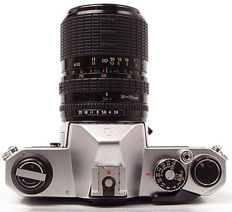 Pentax K1000 - Top view, showing the controls.