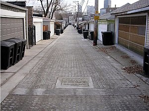 Green infrastructure - Alley renovated with permeable paving located in Chicago, Illinois.