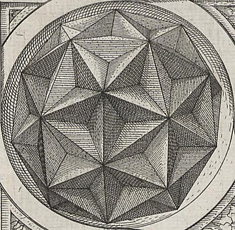 Faceting - Facetings of icosahedron (giving the shape of a great dodecahedron) and pentakis dodecahedron in Jamnitzer's book