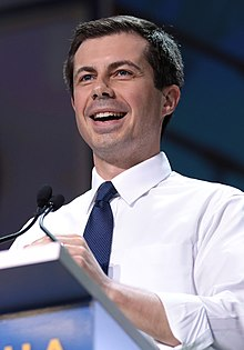 Buttigieg speaking at an event in San Francisco, California, during his 2020 presidential campaign