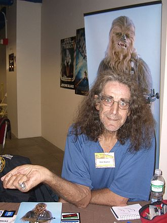 Peter Mayhew - Mayhew at the Big Apple Con, 14 November 2008, sitting in front of an image of Chewbacca