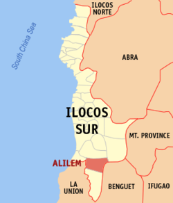 Map of Ilocos Sur showing the location of Alilem