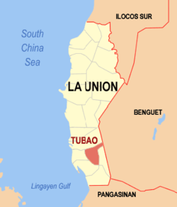 Map of La Union showing the location of Tubao