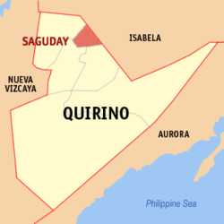 Map of Quirino showing the location of Saguday.