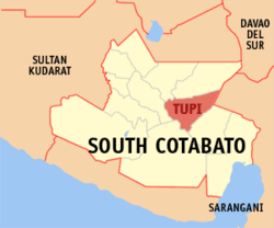 Map of South Cotabato showing the location of Tupi