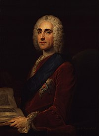 Portrait of a man in a wig, a book at his hand.