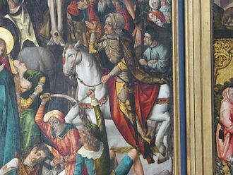 Philipp I, Count of Hanau-Münzenberg - Count Philipp I the Younger of Hanau, shown as Roman captain in the crucifixion scene on the altar at Wörth am Main