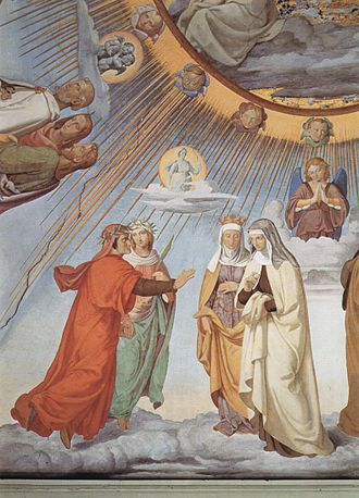 Divine Comedy - Paradiso, Canto III: Dante and Beatrice speak to Piccarda and Constance of Sicily, in a fresco by Philipp Veit.