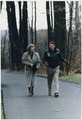 Photograph of President Reagan walking with Prime Minister Margaret Thatcher at Camp David - NARA - 198578.tif