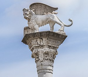 Piazza dei Signori (Vicenza) - Statue of the Lion of Saint Mark.jpg