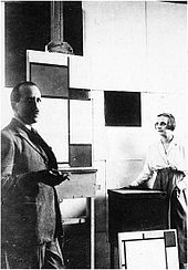 Piet Mondrian and Pétro (Nelly) van Doesburg in Mondrian's Paris studio, in 1923