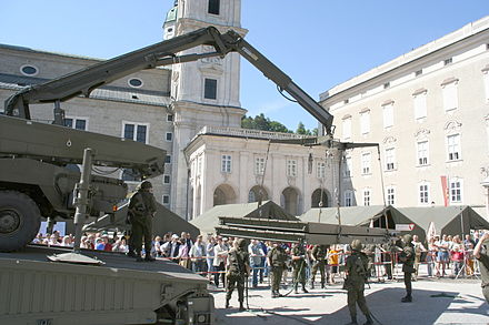 Engineers from the 2nd Engineer Battalion building a bridge during an exhibition in the city of Salzburg
