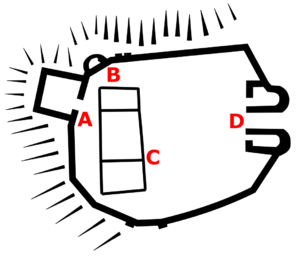 Pennard Castle - Plan of the castle in the 14th century; A - West mural tower; B - North-west mural tower; C - hall; D - gatehouse