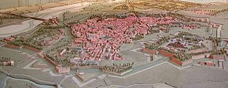 Battle of Peyrestortes - A model of the ancient fortress of Perpignan, looking northeast. Le Vernet is just to the left across the bridge.