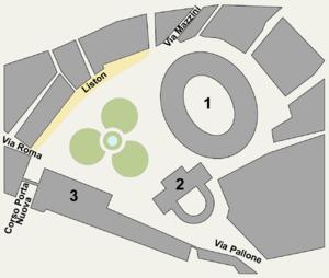 Piazza Bra - Plan of Piazza Bra 1: Verona Arena 2: Palazzo Barbieri 3: Gran Guardia