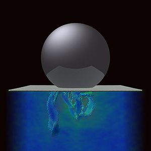 Plasticity (physics) - Plasticity under a spherical Nanoindenter in (111) Copper. All particles in ideal lattice positions are omitted and the color code refers to the von Mises stress field.