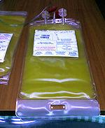 Bolsa com concentrado de plaquetas.