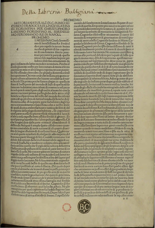Plinius Secundus - Historia naturalis, nellanno della nativita del nostro signore Iesu Christo MCCCCLXXXIX adi XII di septembre - 2032292