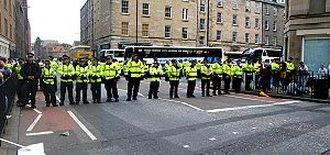 Make Poverty History - Police at the Edinburgh demonstration; Buccleuch Street