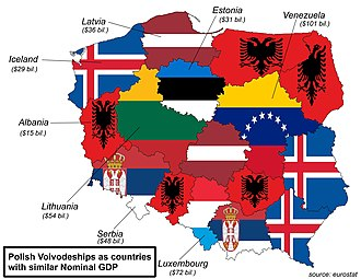 Voivodeships of Poland - Polish voivodeships (provinces) as countries with similar nominal GDP