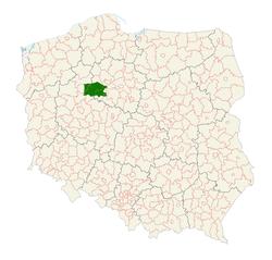 Położenie Pałuk na mapie Polski z zaznaczonymi województwami i powiatami