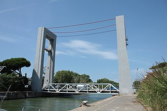 Vertical-lift bridge - Ponte Due Giugno in Fumicino, Italy