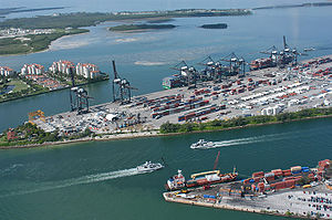 Port operations simulator - Port operations simulations are used to model and simulate conditions at large ports, such as the Port of Miami.