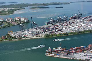 PortMiami seaport located in Biscayne Bay in Miami, Florida, United States