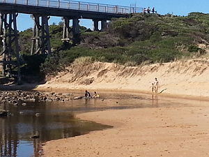 Kilcunda - Swimmers At Kilcunda Trestle Bridge, Where Bourne Creek meets Kilcunda Beach