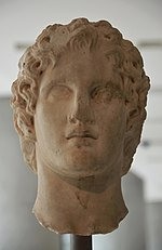 Portrait of Alexander the Great, most likely of the sculptor Leochares, 340-330 BC, New Arcropolis Museum, Athens (14053483565).jpg