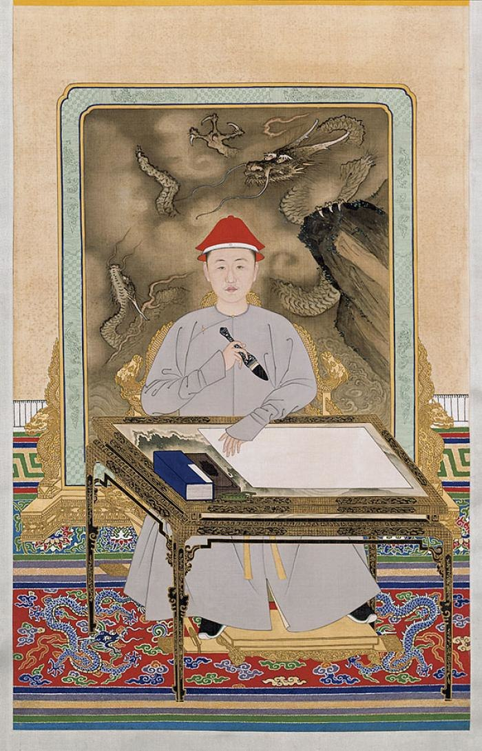 Portrait of the Kangxi Emperor in Informal Dress Holding a Brush