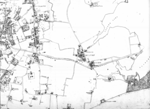 Milton, Portsmouth - A map of Milton in 1833, featuring the route of the Portsmouth and Arundel Canal