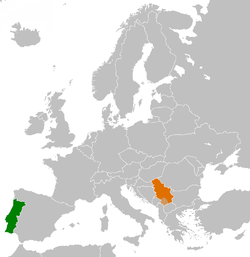 Map indicating locations of Portugal and Serbia