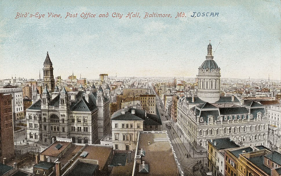 Post Office and City Hall, Baltimore, Maryland, circa 1907-1914 (cropped)