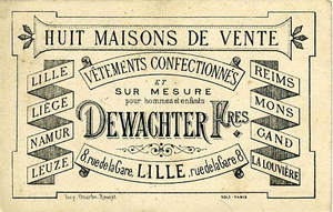 "Ready-to-wear - Post card ad listing eight cities and towns where Dewachter Frères offered ""ready-to-wear clothes and by measure for men and children,"" ca. 1885"