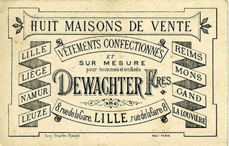 """Ready-to-wear - Post card ad listing eight cities and towns where Dewachter Frères offered """"ready-to-wear clothes and by measure for men and children,"""" ca. 1885"""
