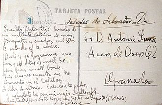 "Federico García Lorca - Postcard from Lorca and Dalí to Antonio de Luna, signed ""Federico."" ""Dear Antonito: In the midst of a delicious ambience of sea, phonographs and cubist paintings I greet you and I hug you. Dalí and I are preparing something that will be 'moll bé.' Something 'moll bonic.' Without realizing it, I have deposited myself in the Catalan. Goodbye Antonio. Say hello to your father.  And salute yourself with my finest unalterable friendship. You've seen what they've done with Paquito! (Silence)""  Above, penned by Dalí: ""Greetings from Salvador Dalí"""
