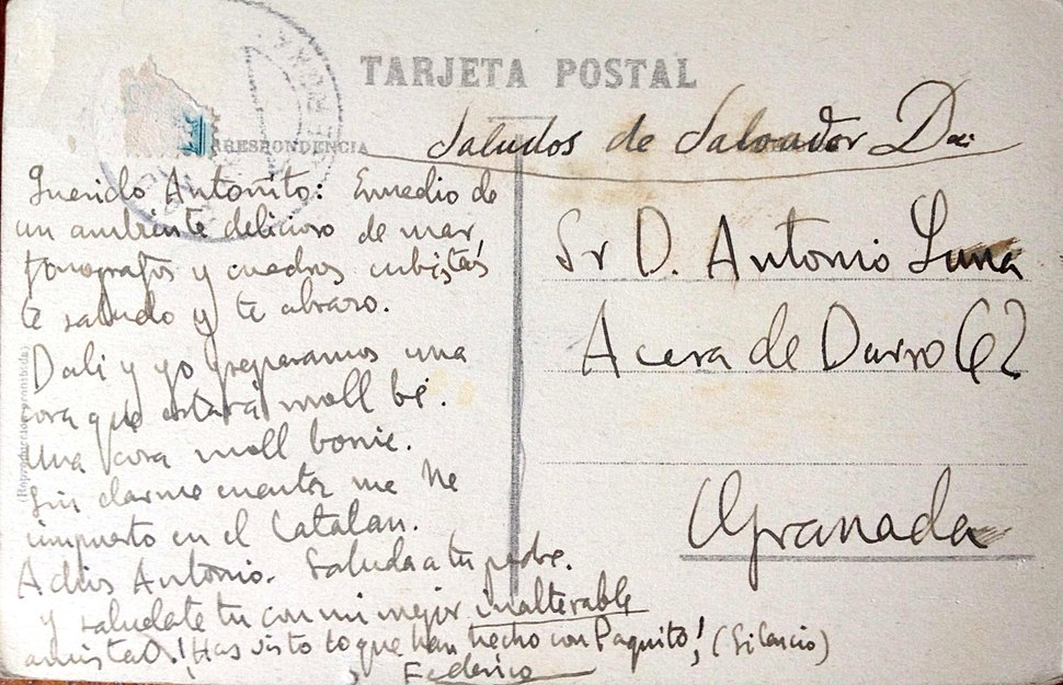 Postal de Federico a Antonio de Luna