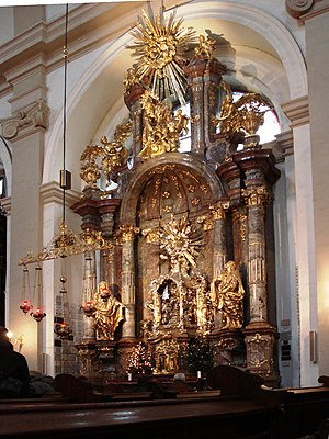 Infant Jesus of Prague - The elaborate shrine which houses the wax-wooden statue. Church of Our Lady Victorious, Mala Strana, Prague, Czech Republic.