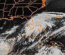 A satellite picture shows a large area of clouds over Florida