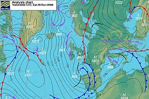 Balanced flow - An northerly air stream flows from Arctic to mid latitudes south of the 40th parallel