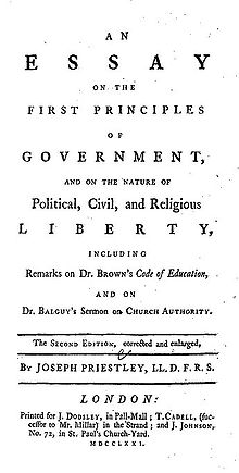 "De pe pagină se poate citi: ""An Essay on the First Principles of Government, and on the Nature of Political, Civil, and Religious Liberty, including Remarks on Dr. Brown's Code of Education, and on Br. Balguy's Sermon on Church Authority. The Second Edition, corrected and enlarged, by Joseph Priestley, LL.D. F.R.S. London: Printed for J. Dodsley, in Pall-Mall; T. Cadell, (successor to Mr. Millar) in the Strand; and J. Johnson, No. 72 in St. Paul's Church-Yard. MDCCLXXI."""