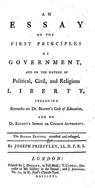 Essay on the First Principles of Government - Title page to Joseph Priestley's Essay