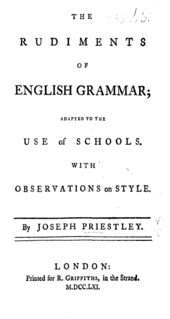 "Pe pagină scrie: ""The Rudiments of English Grammar; Adapted to the Use of Schools, with Observations on Style. By Joseph Priestley. London: Tipărit pentru R. Griffiths, în ""the Strand"". M.DCC.LXI."""