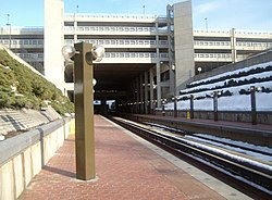 Prince George's Plaza station with snow on one side.jpg