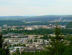 A view of Prince George from the University of Northern BC on Cranbrook Hill