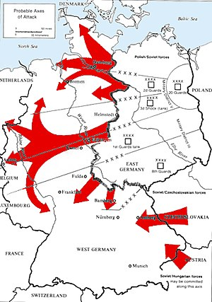 North German Plain - Probable axes of attack of the Warsaw Pact through the Fulda Gap and the North German Plains  according to the U.S. Army.