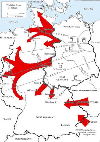 "Neutron bomb - The 1979 Soviet/Warsaw Pact invasion plan, ""Seven Days to the River Rhine"" to seize West Germany. Soviet analysts had correctly assumed that the NATO response would be to use regular tactical nuclear weapons to stop such a massive Warsaw Pact invasion. According to proponents, neutron bombs would blunt an invasion by Soviet tanks and armored vehicles without causing as much damage or civilian deaths as the older nuclear weapons would."